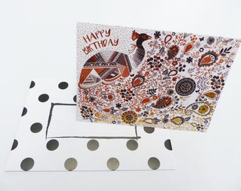birthday Peacock gold and silver happy birthday card