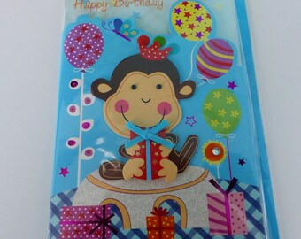 card double embossed 3D birthday monkey with pearls and assorted color envelope