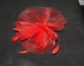 Flower mesh and Red Feather Hat wedding
