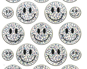 STICKERS SCRAPBOOKING STICKERS SMILEYS silver large plank 13 cm x 10 cm