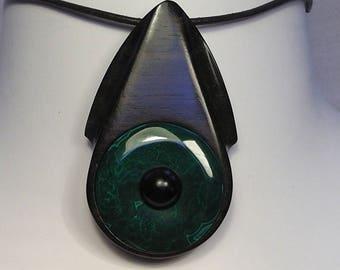 Necklace with malachite inlay ebony wood