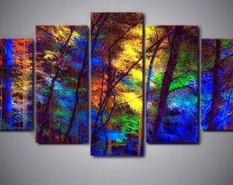 Colorful Trees Landscape Art Decor 5 panel canvas