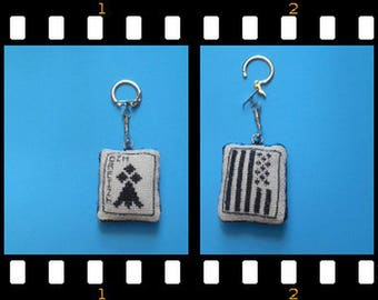 Embroidered canvas - area keychain