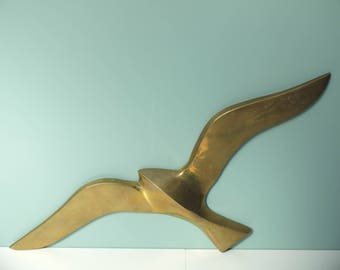 Vintage swallow bird Gull brass 50s 60s medium