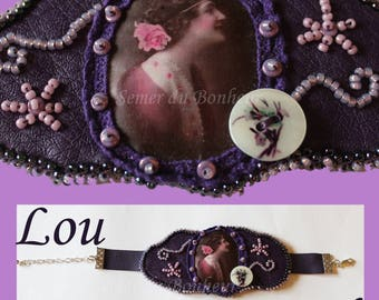"""Bracelet made of leatherette and lace beaded """"Lou"""""""