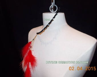 Country special headband with red feather