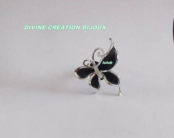 BLACK BUTTERFLY ADJUSTABLE RING AND SILVER