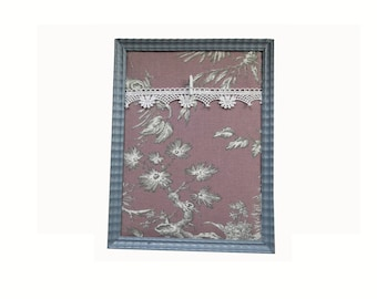 Photo frame hand made fabric jouy Purple