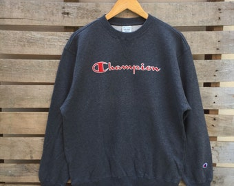 Rare! Vintage Champion Sweatshirt Spell out Big Logo Embroidered Jumper Pullover 90s L Size