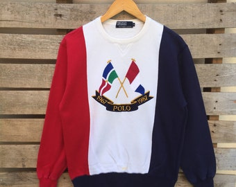 Rare! Vintage Polo Cross flag By Ralph Lauren Sweatshirt Big Logo Embroidered Jumper Pullover 80s S Size