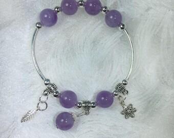 Sterling silver Amethyst bracelet, February birthstone, Healing and Meditation bracelet