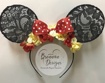 Mouse Ears: Black Lace with Red/Polka Dot Bow