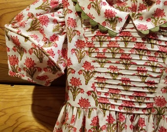 Romantic Girls Dress - Size 4T - Handmade 100% Cotton India Block Print - Ready to Ship