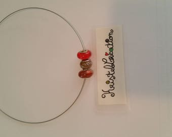 Necklace adjustable Interchangeable shades Orange red and mustard