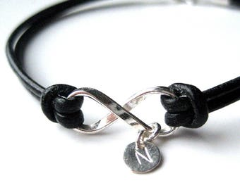 Leather bracelet and sterling silver infinity personalized N3272