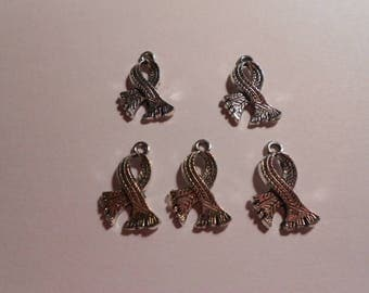 5 great scarves charms silver metal 2.5 x 1.5 cm