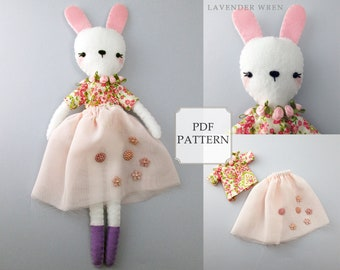 Bunny Sewing Pattern, Plush Bunny Pattern, Stuffed Bunny Pattern, Bunny Sewing PDF, Stuffed Doll PDF, Felt Bunny Pattern, Stuffed Bunny PDF