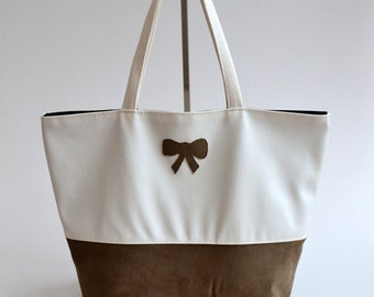 Bag bag faux leather and suede hand made bow Chcocolat and white fashion woman @lacouturebytitia