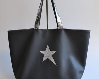 Bag faux leather grey star silver glitters handmade @lacouturebytitia women's fashion