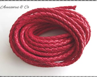 1 meter of 5 mm red leather braided cord