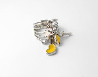 Grigri 5 ring rings silver metal charms and Crystal yellow version
