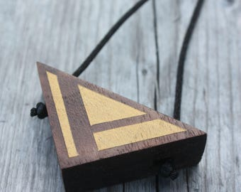 Wooden Triangle - Long Necklace - Geometric - Pendant - Natural Wood