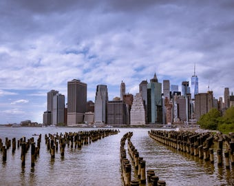 New York Cityscape, Broken Down Piers on Brooklyn Side of Manhattan Island Looking towards the Financial District of New York City