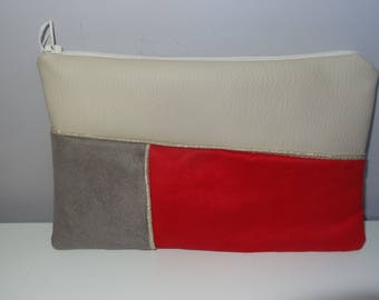 Faux Tan Leather and suede pouch