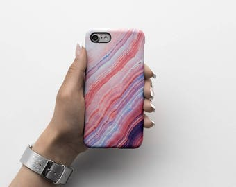 Rough Layered Agate Marble Stone Durable Hard Plastic Phone Cover For iPhone 6, iPhone 7, Samsung Galaxy S |ID11