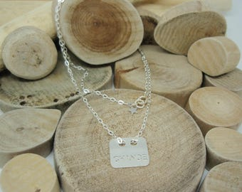 """Silver """"Rectangle luck"""" necklace"""