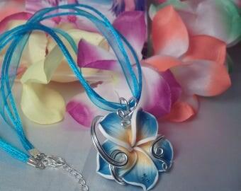 Turquoise mod plumeria Flower necklace 2