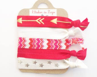 Twistband or hair ties: variegated red and white x 5