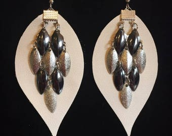 Cream Faux Leather Earrings with Pendant