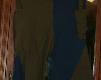 unique light green and blue linen Capri pants