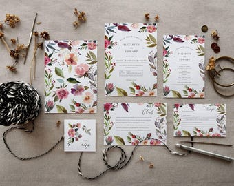 Watercolour Floral Wedding Invitation Set {Printable}