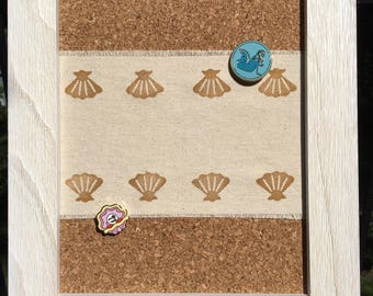 Sea Shell Pin Board, Framed Pin Board, Enamel Pin Board, Message Board, Cork Board