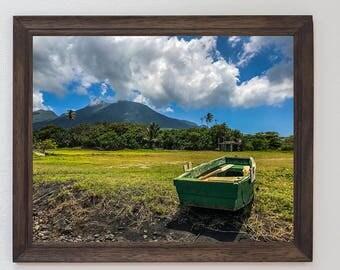 Print of Boat docked on beach of St.Kitts