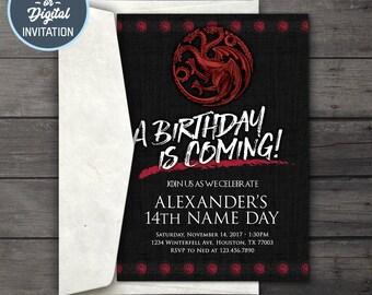 Game of Thrones Digital Birthday Party Invitation • Game of Thrones Birthday Party Invitation Printable • House Targaryen Birthday Invite
