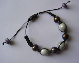 cloud grey blue Shamballa bracelet