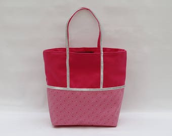 The bi-color hot pink cotton and printed diamond Tote with a silver sequin trim