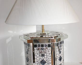 """""""FACETED"""" mosaic table lamp"""