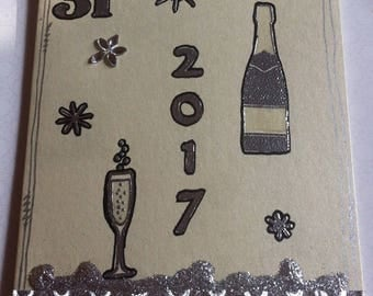 New year 2017, yellow cream base card