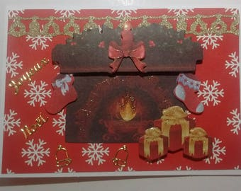 Merry Christmas fireplace and gifts, 3D card