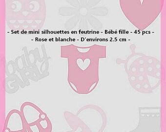Set of 45 mini figures felt - baby girl - pink and white - 2.5 cm.