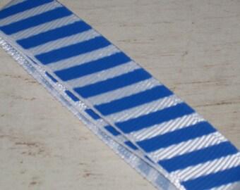 1 meter Ribbon grosgrain stripe blue and white