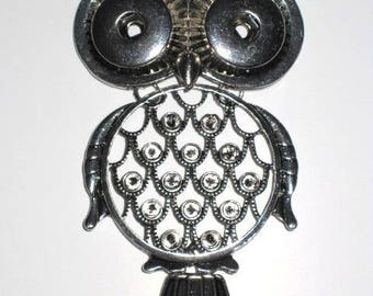 Large OWL pendant hinged double snap, size L