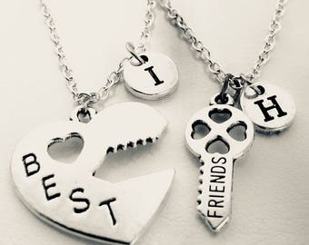 Heart and key necklace gift, Best friend necklace, Best friend birthday gift, Gift to Friend, School Friend, BF GF Necklace, Couple Necklace