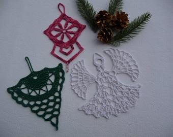 Handmade crocheted doilies set for Christmas decoration