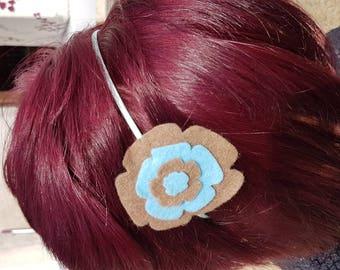 Two-tone blue taupe felt hairband