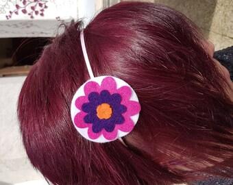 Purple rose felt flower headband